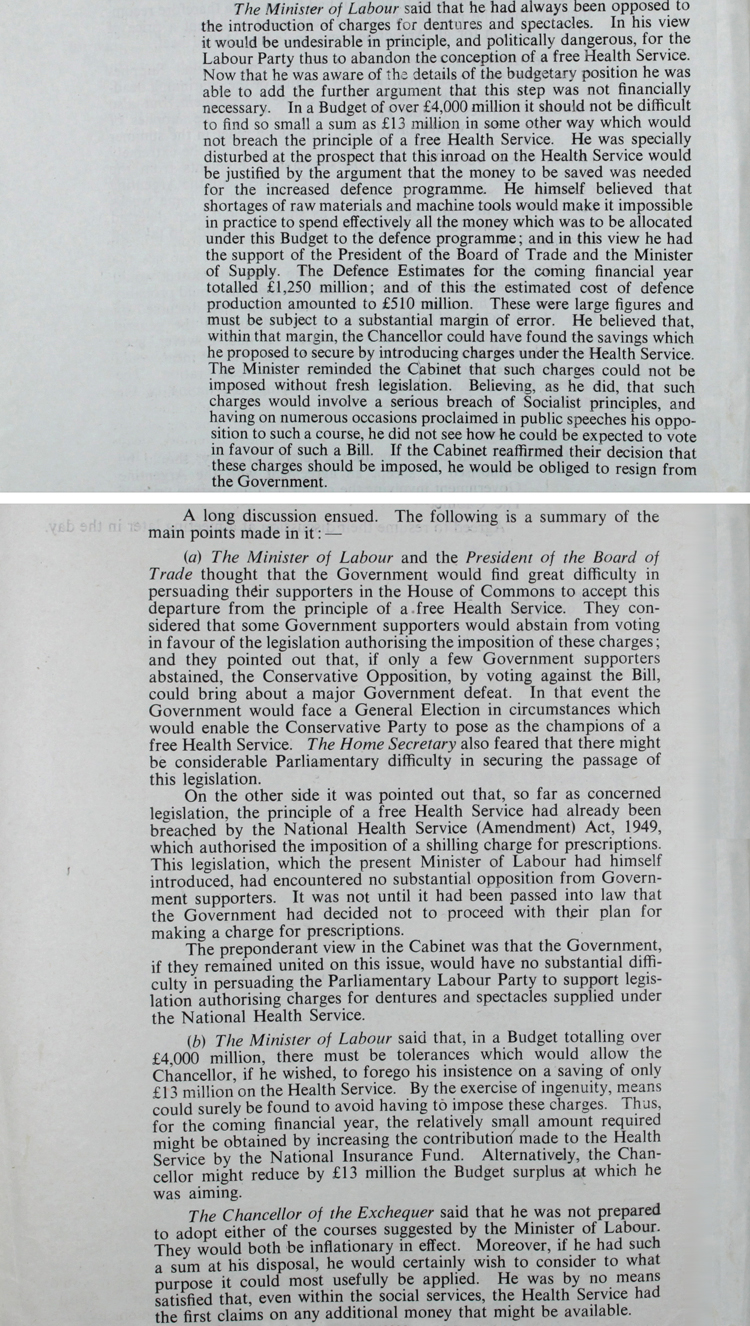 Extract from Cabinet Conclusions, March 22nd 1951 (PREM 8/1480)