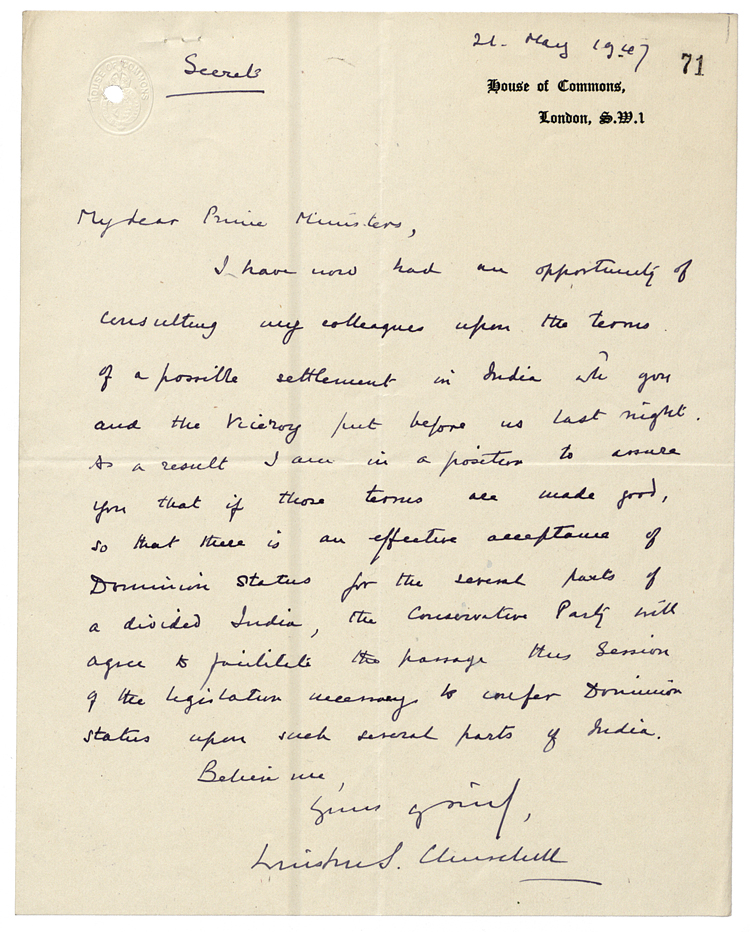 Handwritten letter from Conservative leader Winston Churchill to Prime Minister Clement Attlee agreeing to support Indian independence (PREM 8/565)