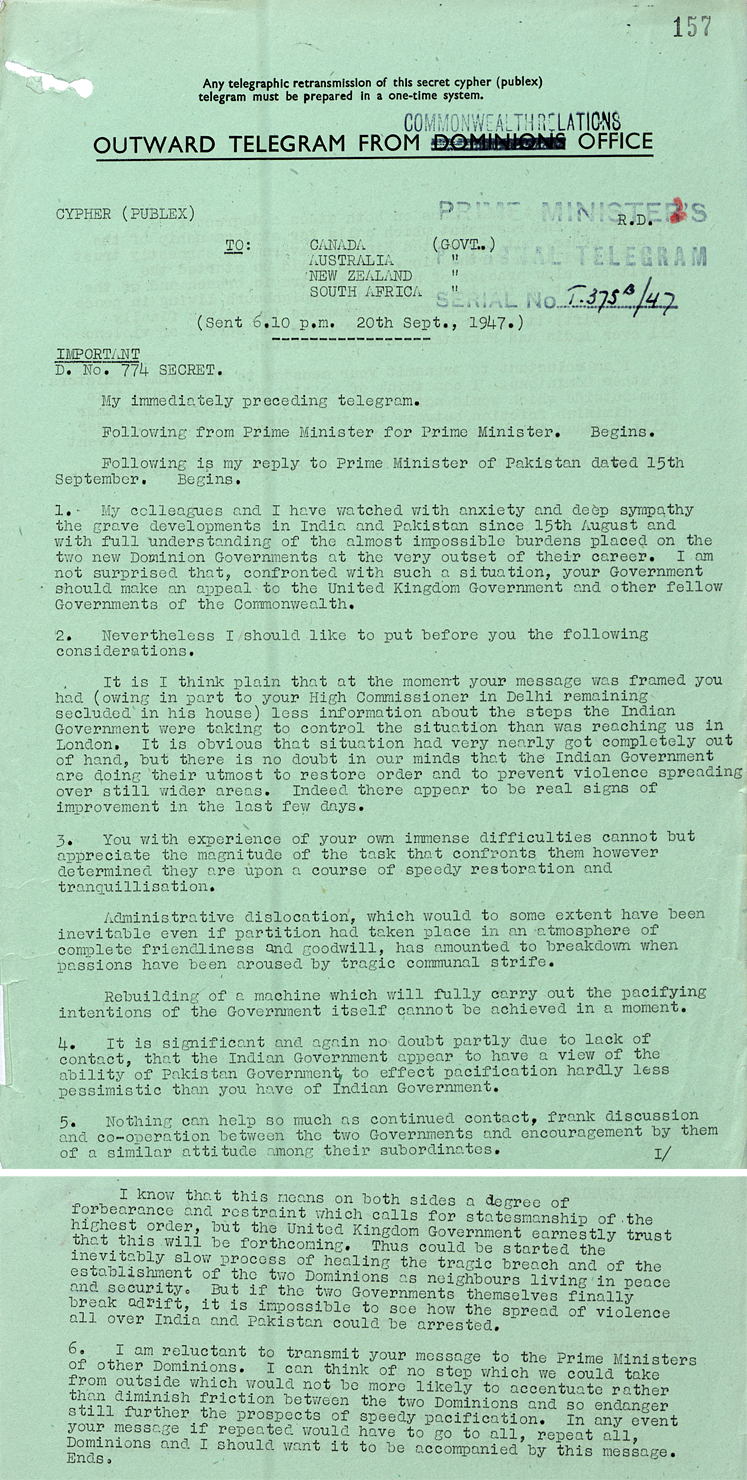Telegram informing Commonwealth leaders of Attlee's response to requests from Jinnah for assistance in handling partition violence (PREM 8/584)