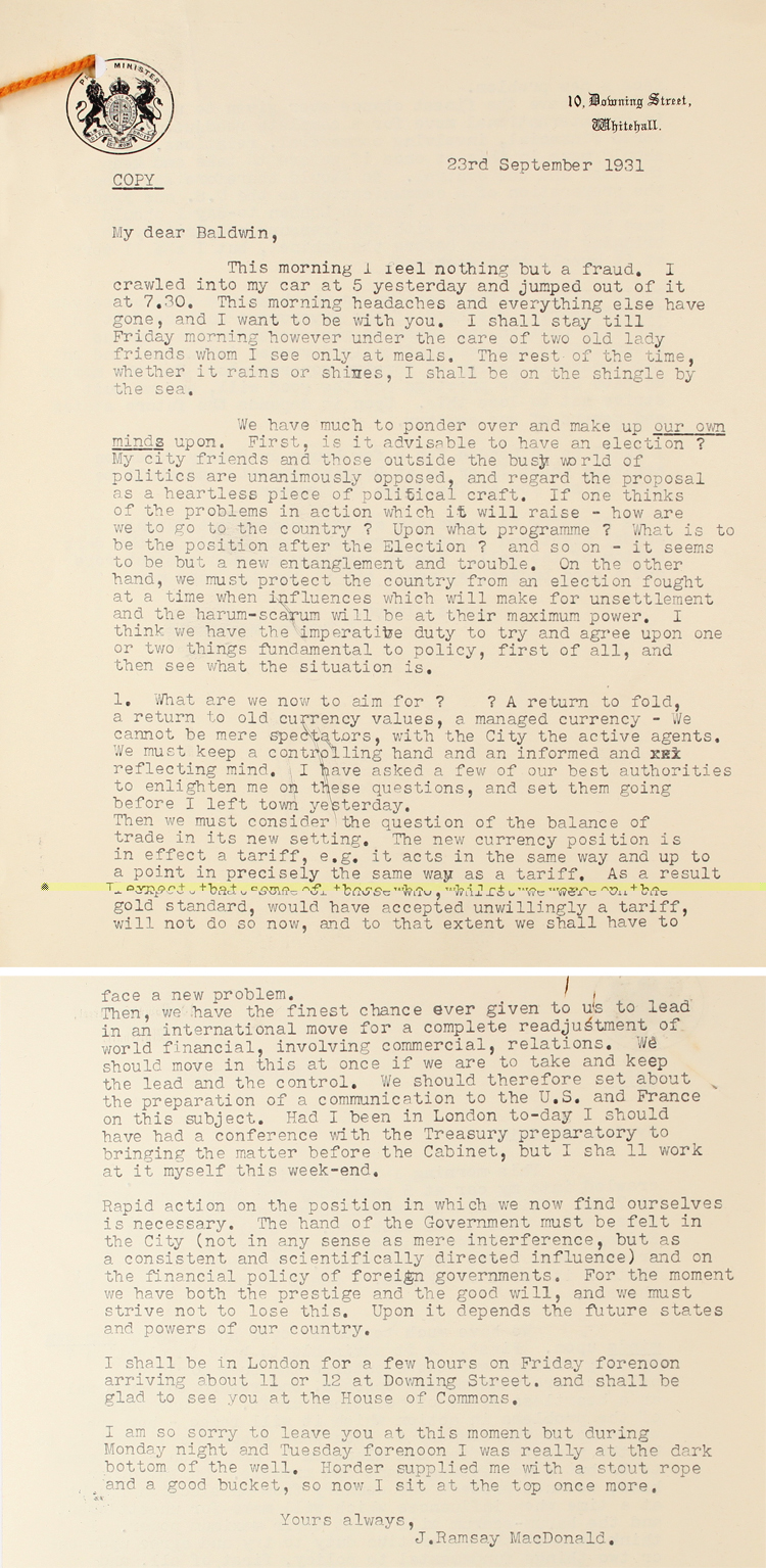 Letter to Stanley Baldwin from Prime Minister Ramsay MacDonald, 23rd September 1931 (PRO 30/69/132)