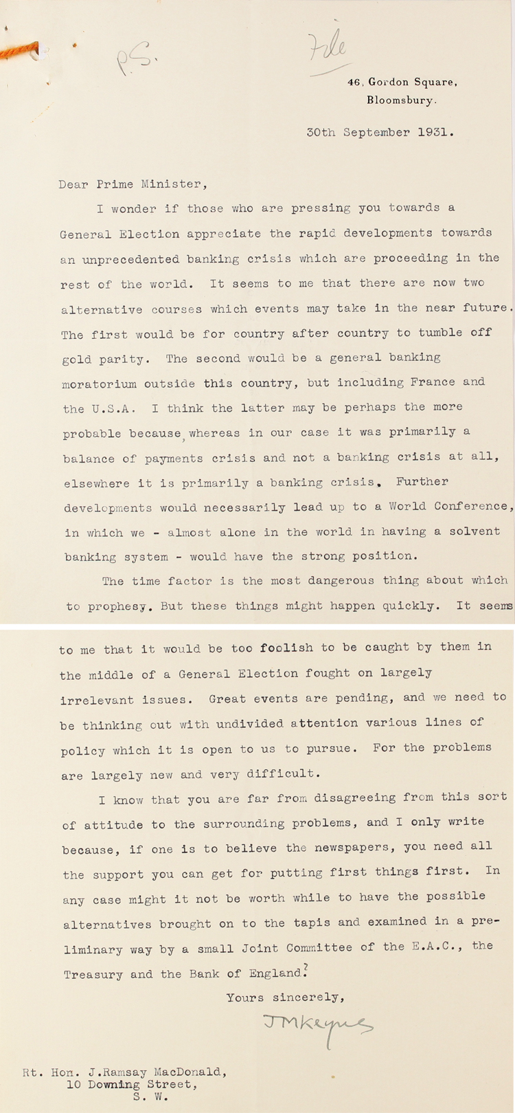 Letter from John Maynard Keynes on the economic situation to Prime Minister Ramsay MacDonald, 30th September, 1931 (PRO 30/69/1320)