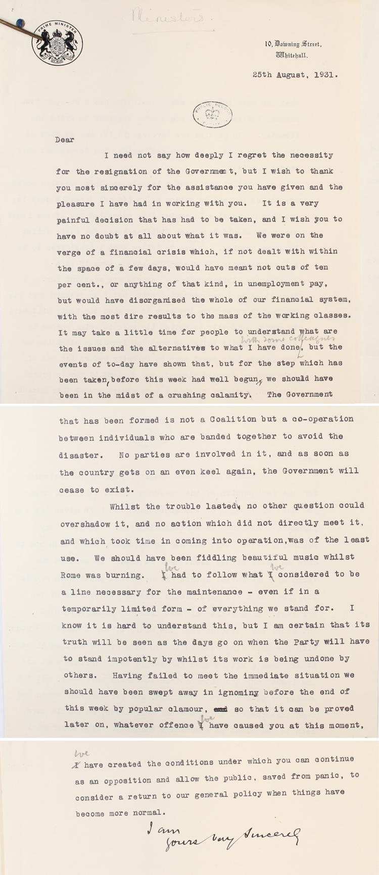 Draft letter from Labour Prime Minister Ramsay MacDonald to his ministers, 25th August 1931 (PRO 30/69/38310)