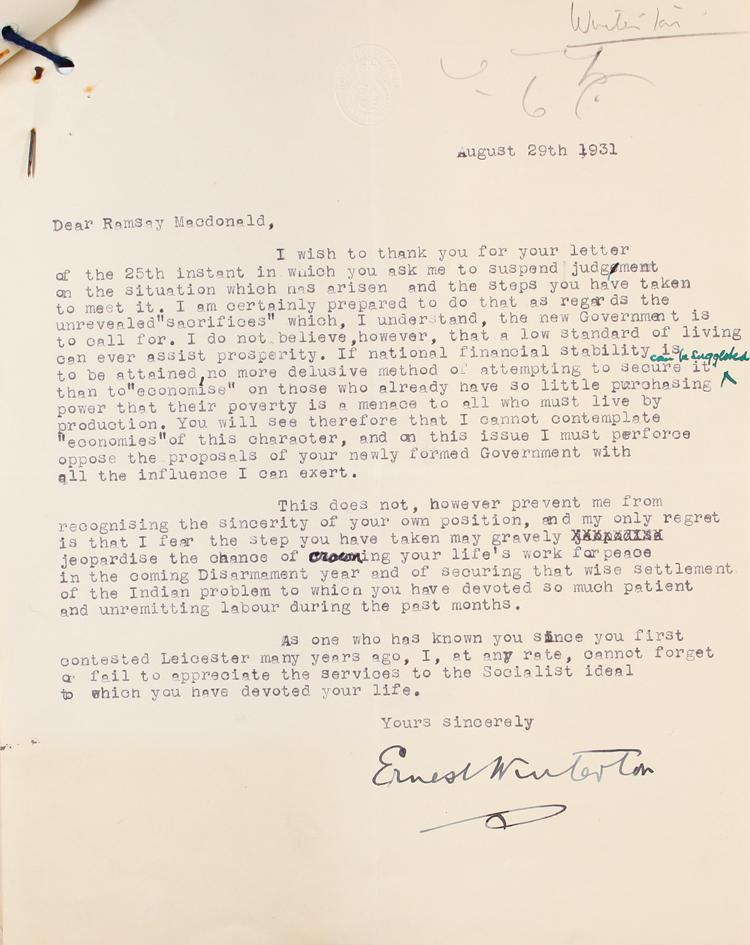 Letter from Labour MP Ernest Winterton to Prime Minister Ramsay MacDonald, 29th August 1931 (PRO 30/69/383)