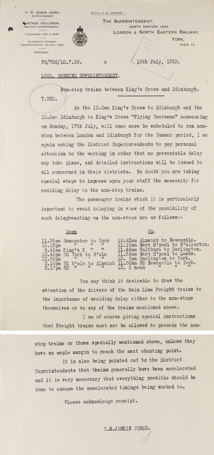Letter from the running superintendent at York regarding The Flying Scotsman, 10th July 1933 (RAIL 393/133)
