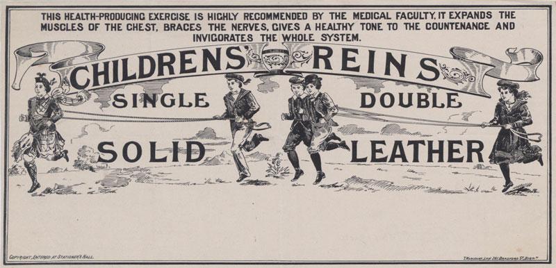 Advertisement for children's reins, 1897 (COPY 1/134 f.344)