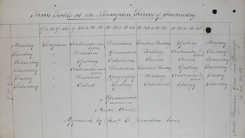 Timetable from a girl's industrial school in Hampton, Middlesex, 1862 (ED 37/199)
