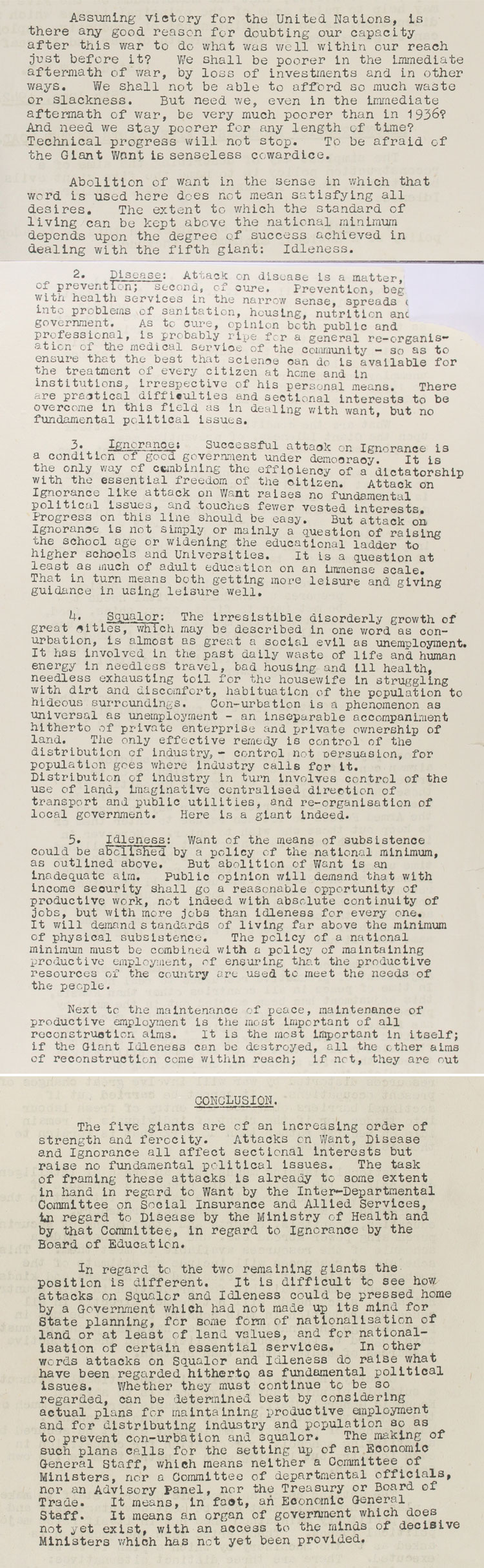 Extract from notes from the advisory panel on Home Affairs on Reconstruction Problems: the Five Giants on the Road, 25th June, 1942 (T 161/1165)