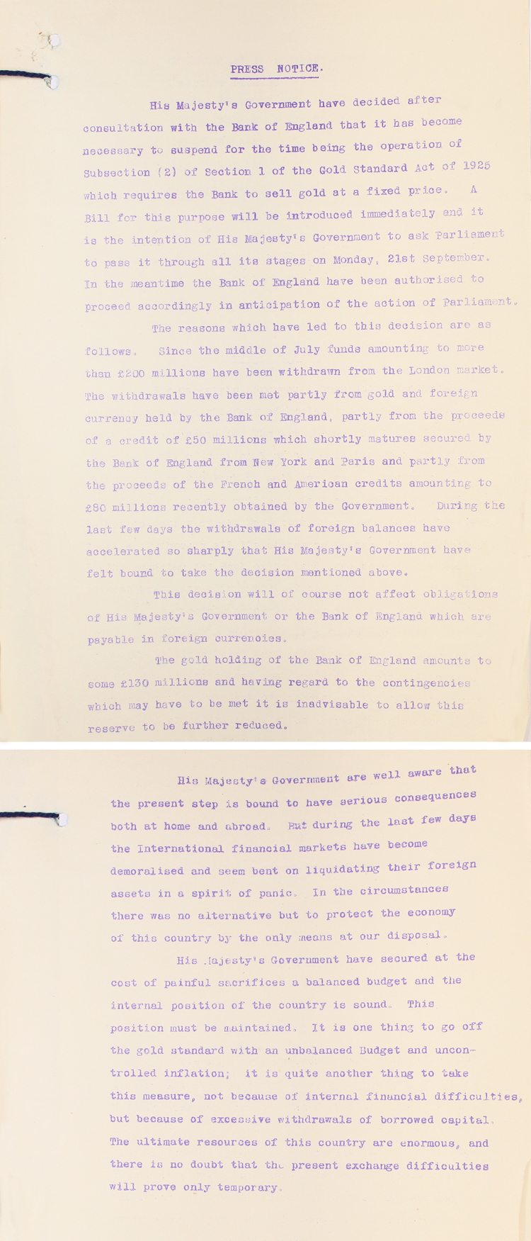 Treasury statement for the Press on Britain leaving the Gold Standard, 20th September 1931 (T 163/68/18)