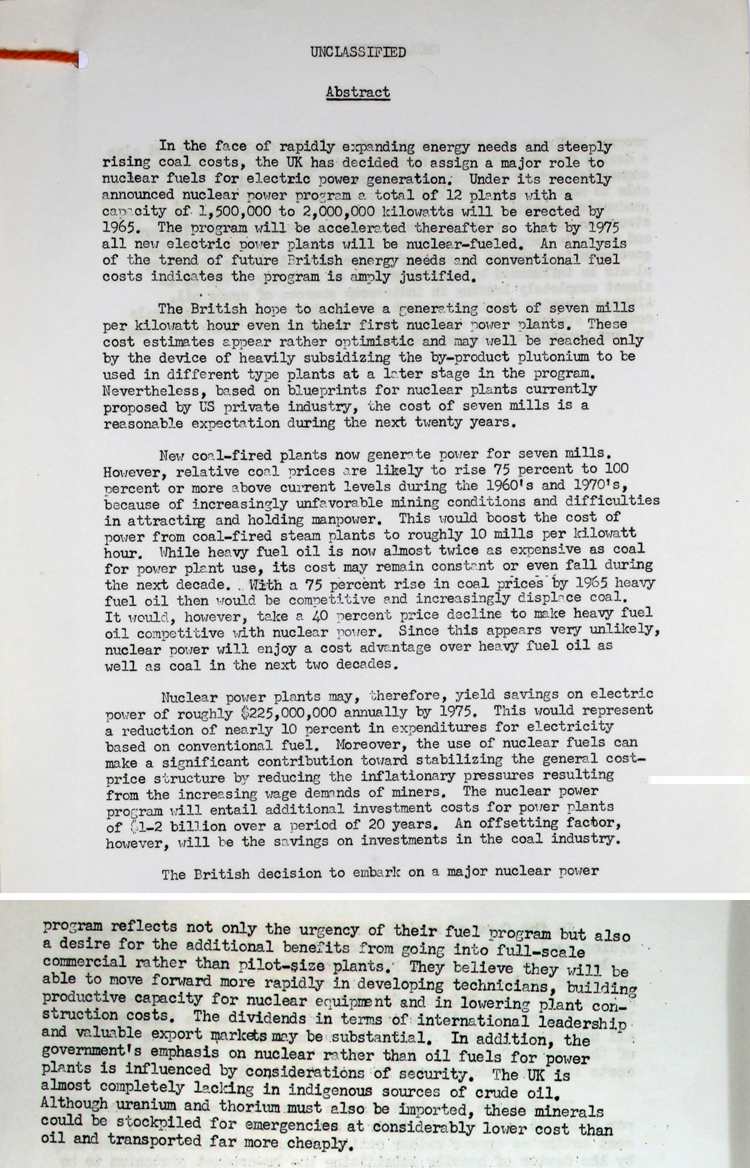 Extract from an Intelligence Report by the US State Department on the significance of the UK's Nuclear Power Program, 1st July 1955 (T 228/698)