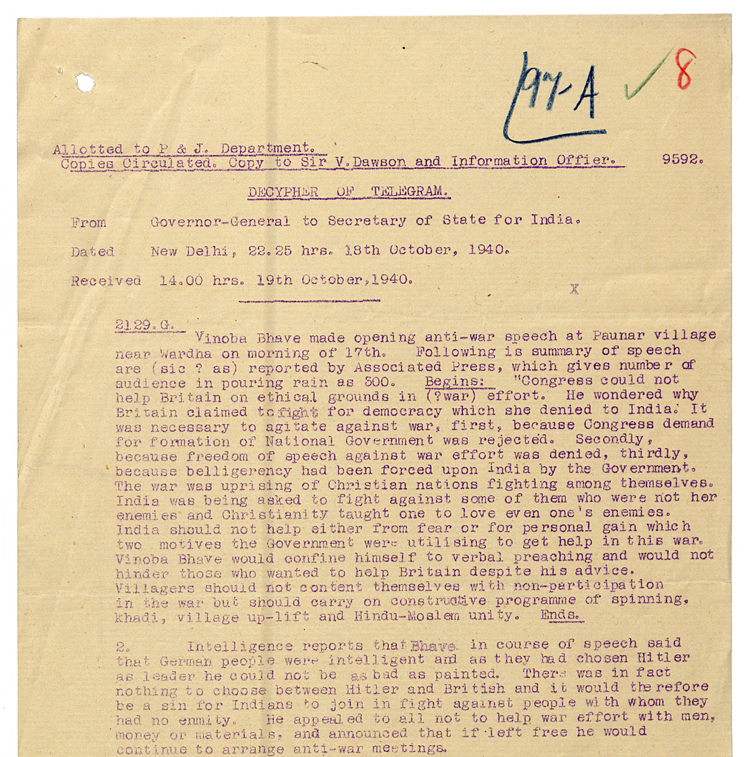 Telegram from Governor General to India Secretary on Vino Bhave antiwar speech, 18 October 1940 (WO 106/3651)