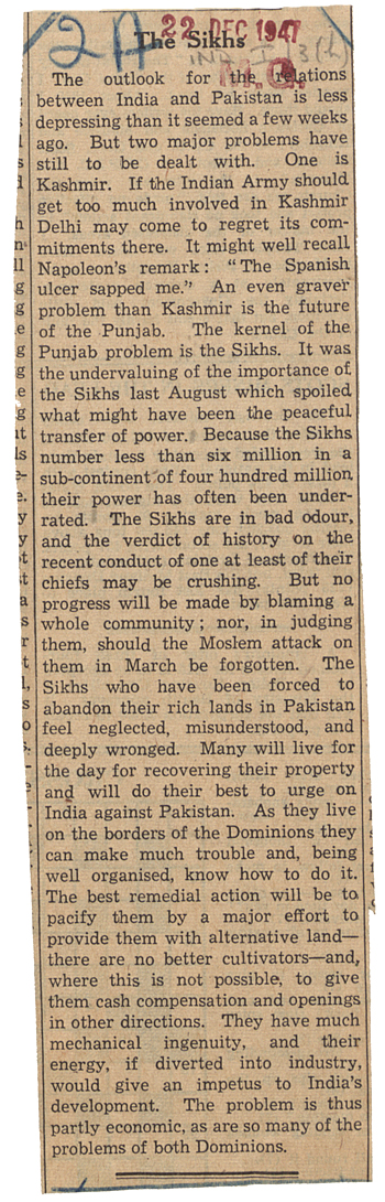 Article from The Times, 22 December 1947 (WO 208/3811)