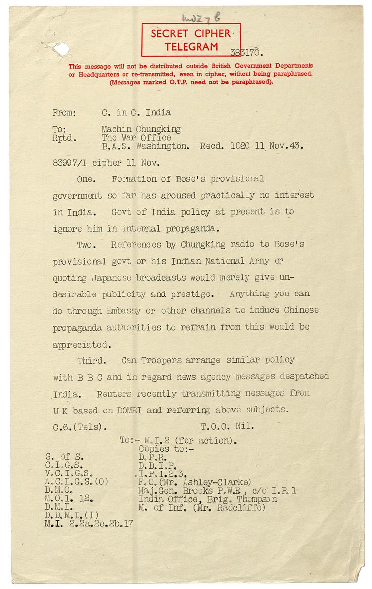 Secret telegram from General Auchinleck on Chandra Bose, 11th November 1943 (WO 208/3812)