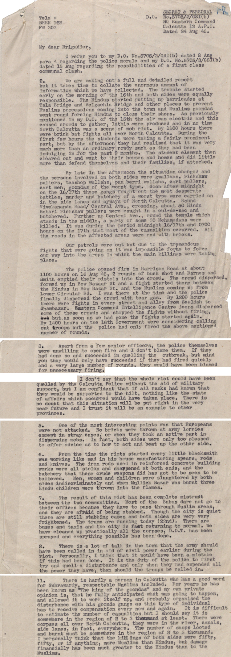 Extracts from a military report on the Calcutta riots, 24 August 1946 (WO 216/662)