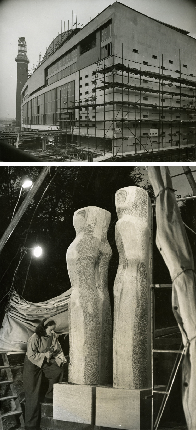 Photograph of Royal Festival Hall under construction on London's South Bank, 24th November 1950, and sculptor Barbara Hepworth working on pieces at her St. Ives studio for the Festival of Britain exhibition, 25th October 1950 (WORK 25/201)