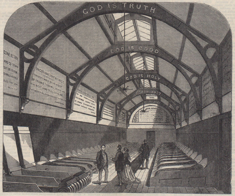 Drawing of the new ward for the poor at Marylebone Workhouse and extract from an article about it from the Illustrated London News, 1867 (ZPER 31/51)