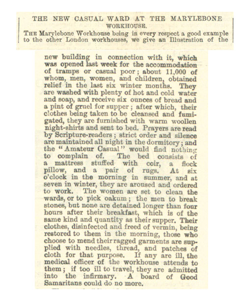 Extract from article about the new ward for the poor at Marylebone Workhouse, Illustrated London News, 1867 (ZPER 34/51)