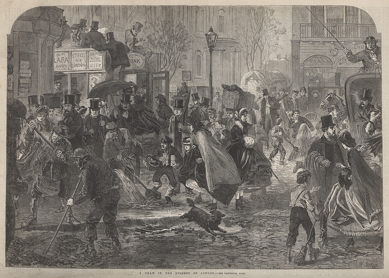 'A thaw in the streets of London', Illustrated London News, 1865 (ZPER 34/46 p.184)