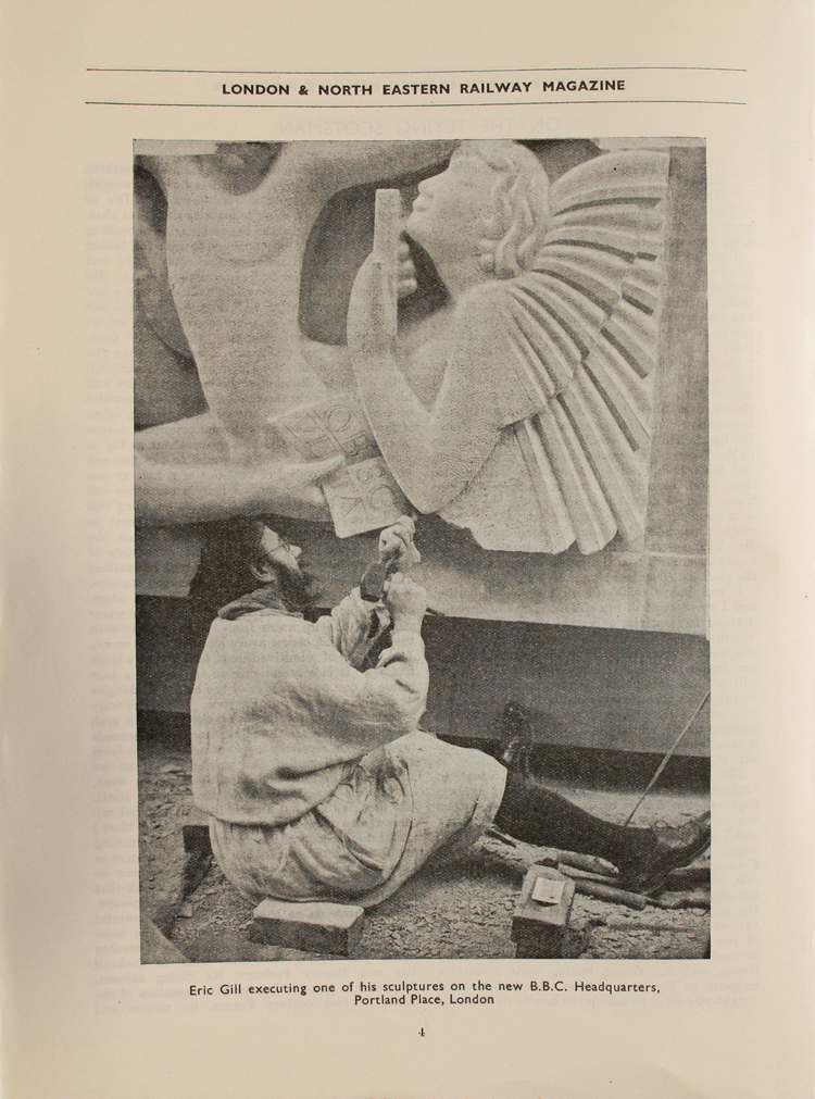 """""""Eric Gill executing one of his sculptures on the BBC Headquarters, Portland Place, London"""", from London & North Eastern Railway Magazine, January 1933 (ZPER 17/7)"""