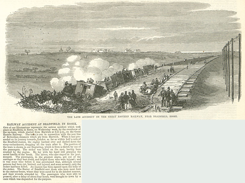 Illustrated London News article about a railway accident at Bradfield in Essex, 1864 (ZPER 34/45 page 103)
