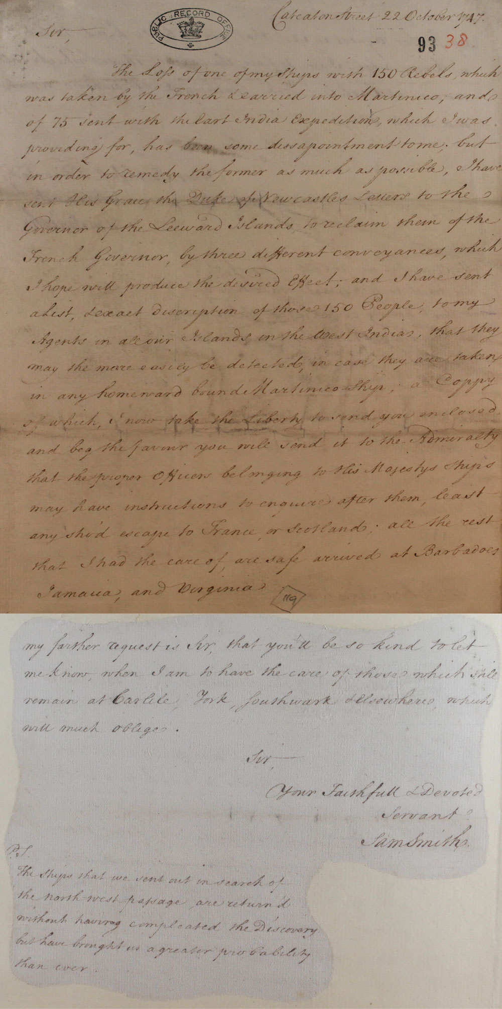 Letter from Samuel Smith to Andrew Stone,1747 (SP 36/102/38)
