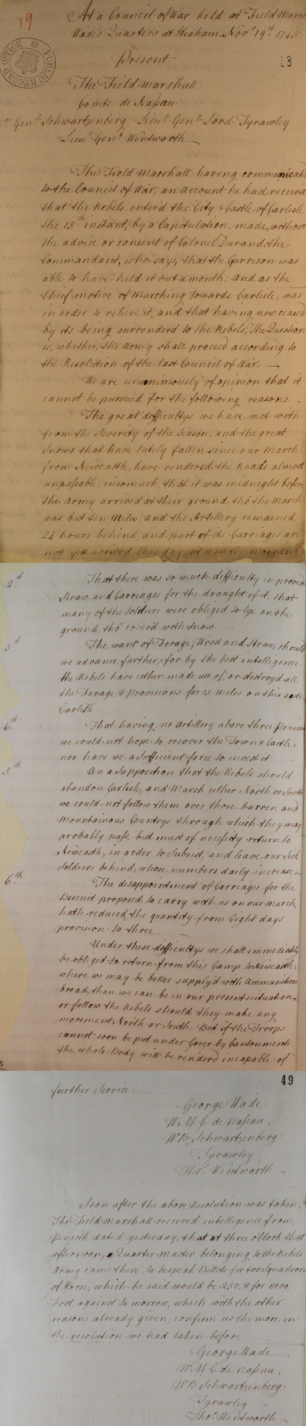 Resolutions from General Wade's Council of War,1745
