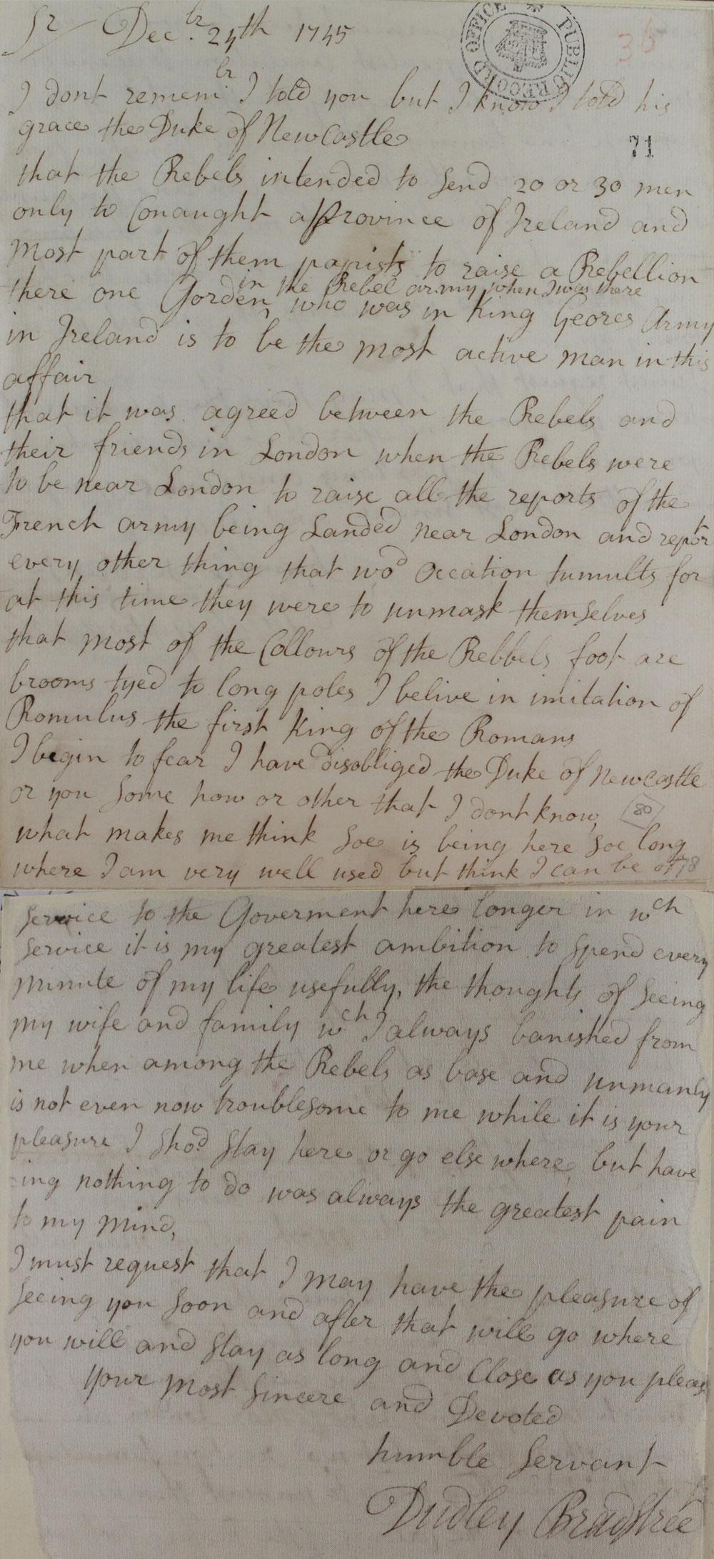 Intelligence sent to Duke of Newcastle (SP 36/78/71)