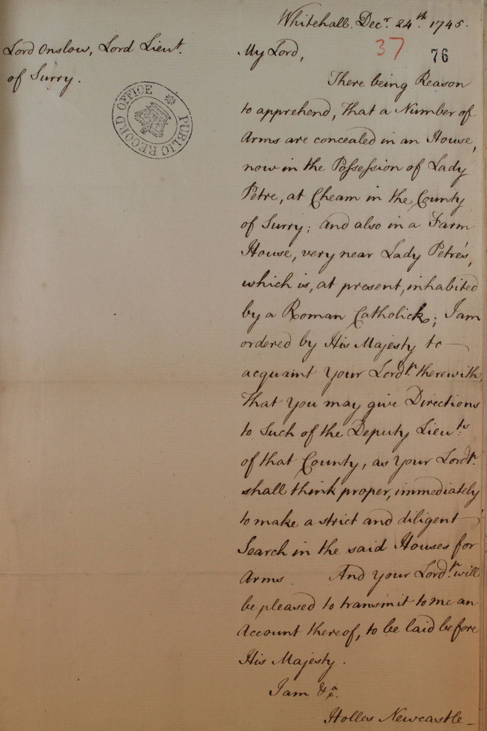 Letter from the Earl of Newcastle, 1745 (SP 36/78/76)