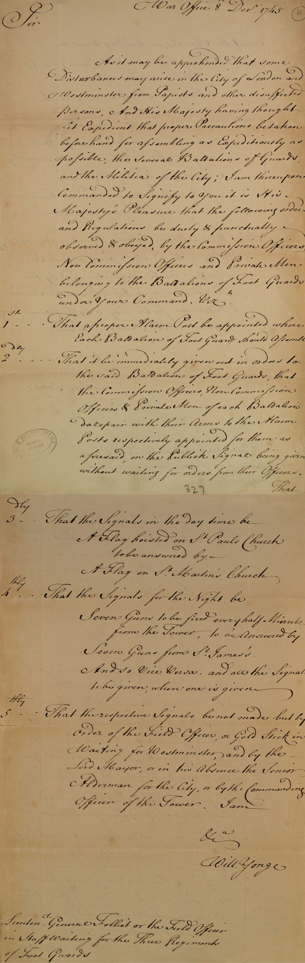Letter from the William Yong, 1745 (SP 41/16/137)