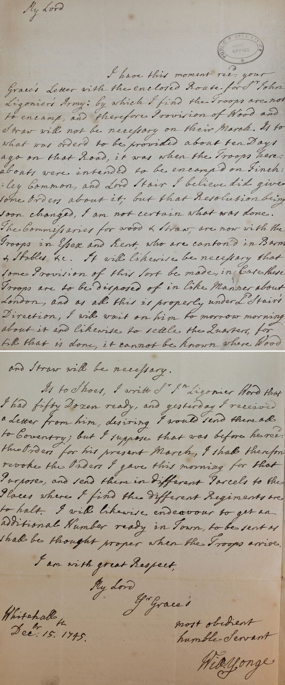 Letter from Whitehall,1745 (SP 41/16/141)