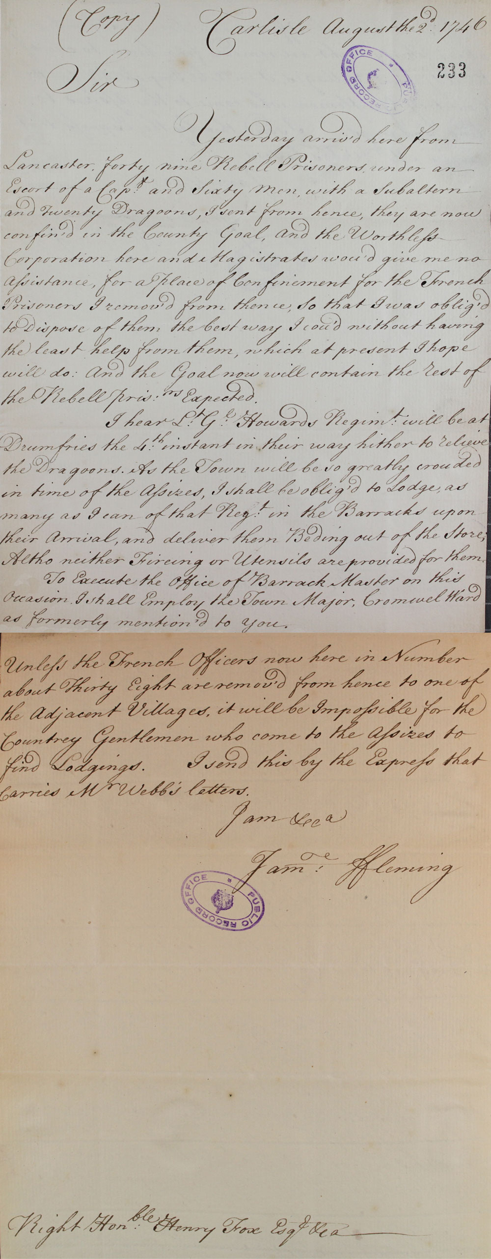 Despatch to Henry Fox (SP 41/17/f110)