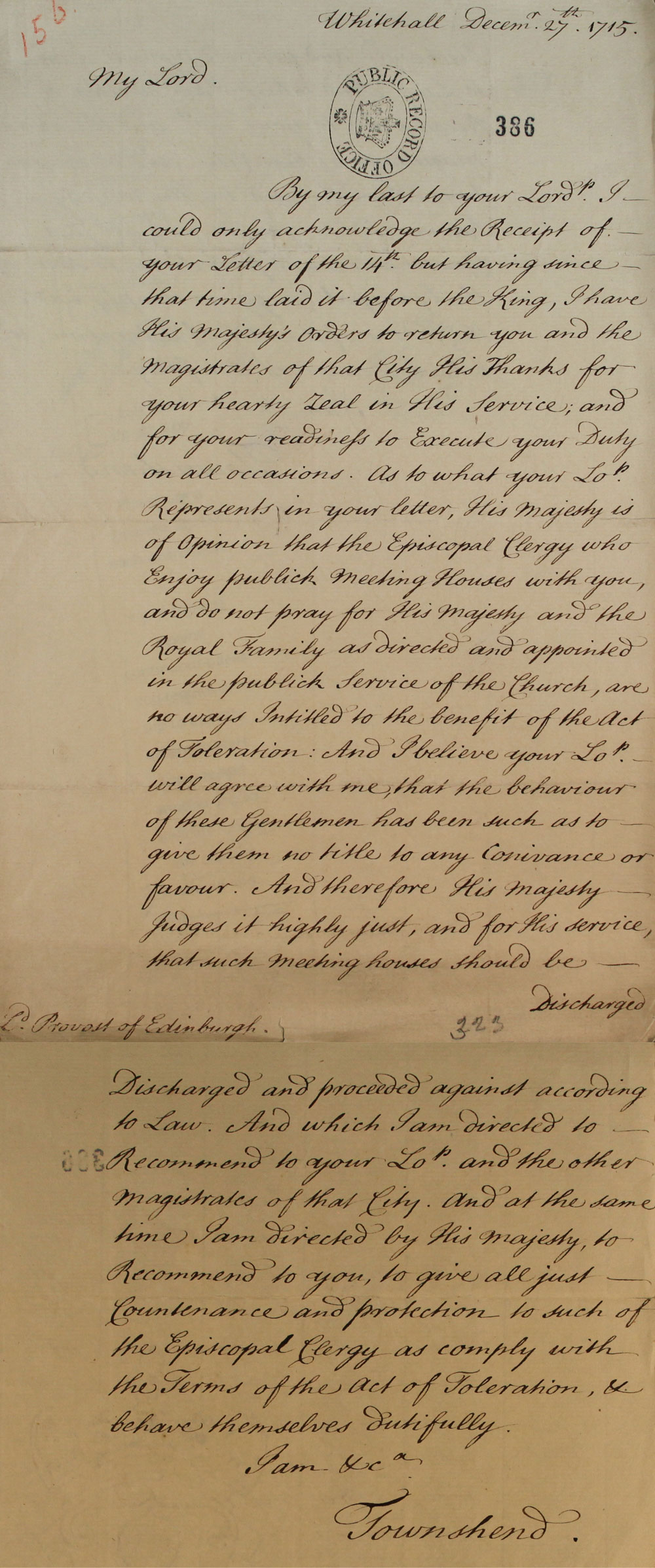 A letter from Secretary Townshend to the Provost of Edinburgh, 27 December 1715 (SP 54/10/156)