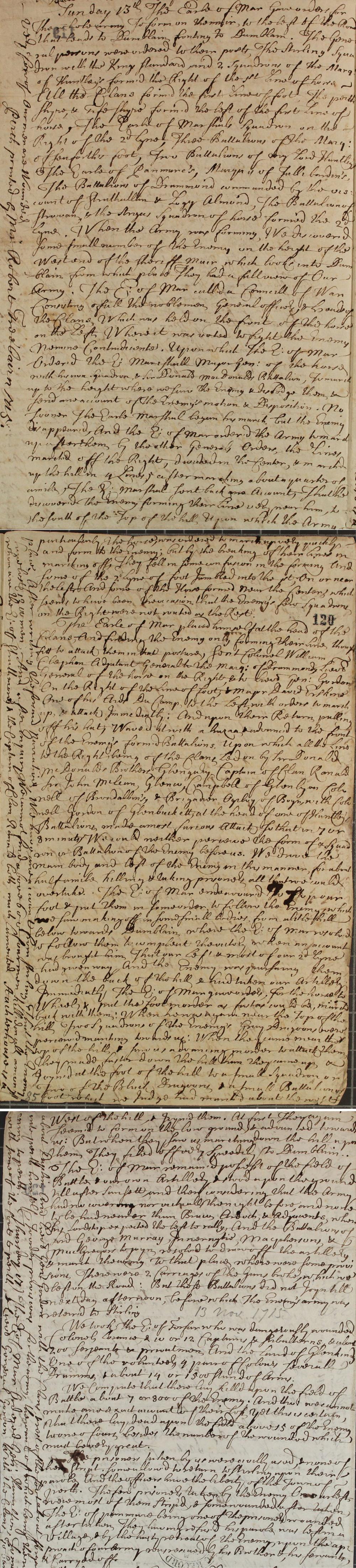 Account of Sherrifmuir, 13 November 1715 (SP 54/10/45B)