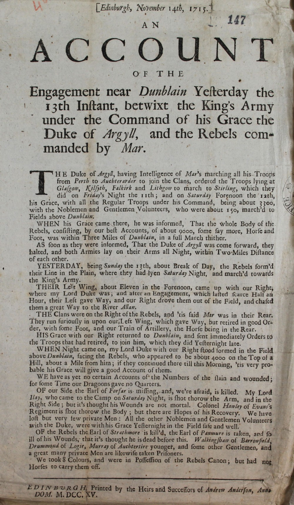 An account of a battle near Dunblane, 14th November 1715, printed in Edinburgh (SP 54/10/46A)