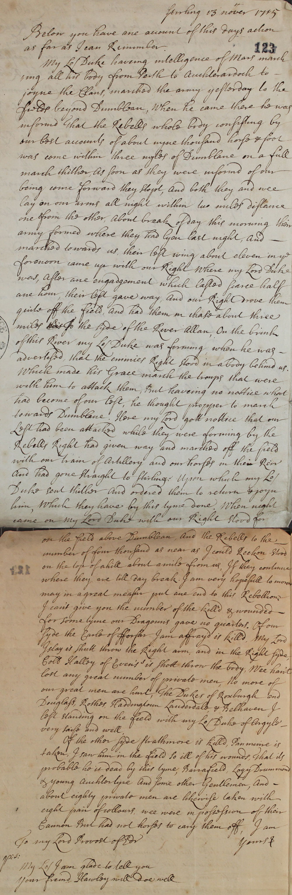 Account of the battle of Sheriffmuir, 1715, cat. ref. SP 54/10/47