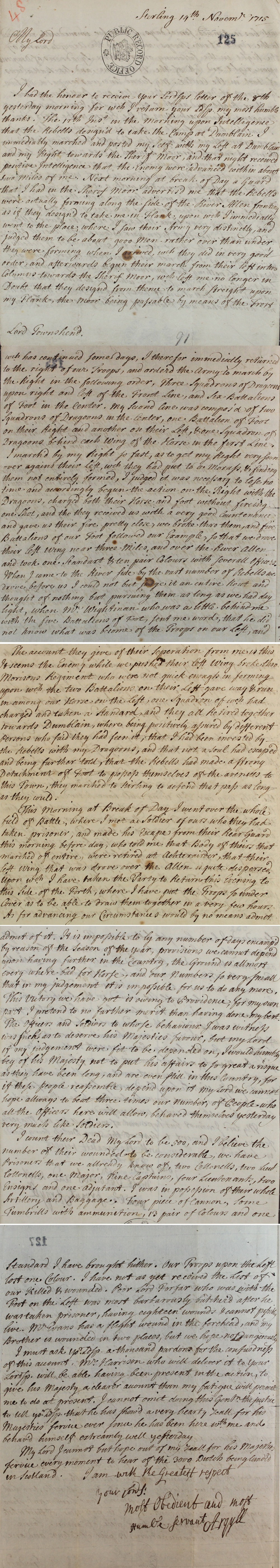 Letter from Lord Argyll to Lord Townshend, Secretary of State, 14 November 1715 (SP 54/10/48)