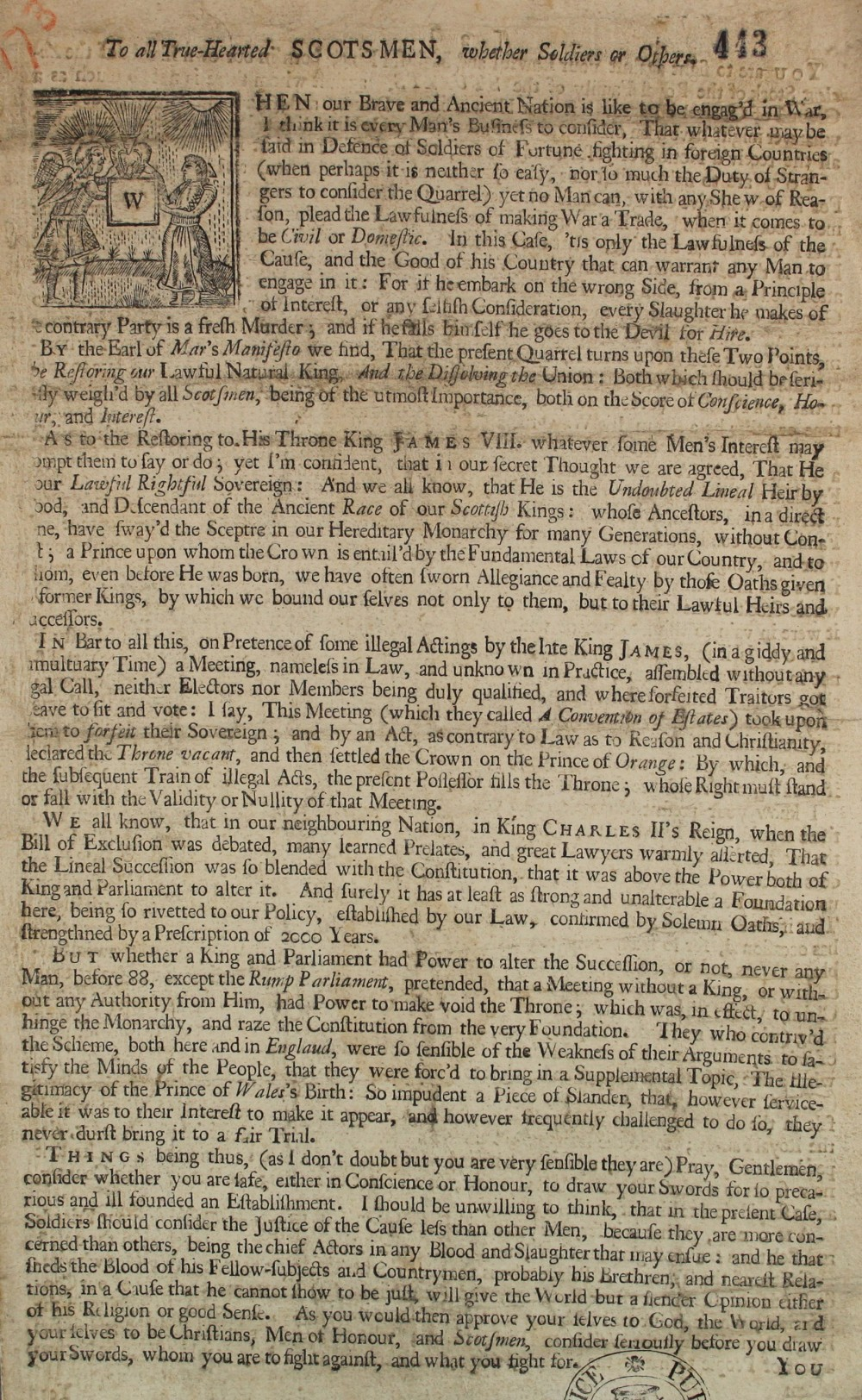 "A handbill addressed ""to all true-hearted Scotsmen"" (SP 54/10/173)"
