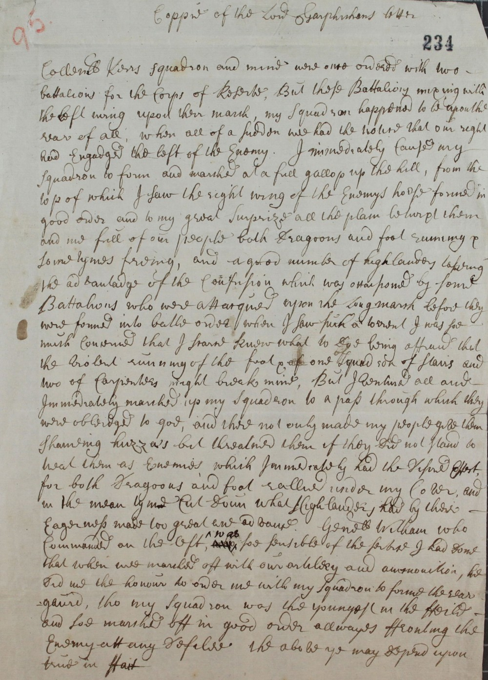 Account of Battle of Sheriffmuir, cat. ref. SP 54/10/95