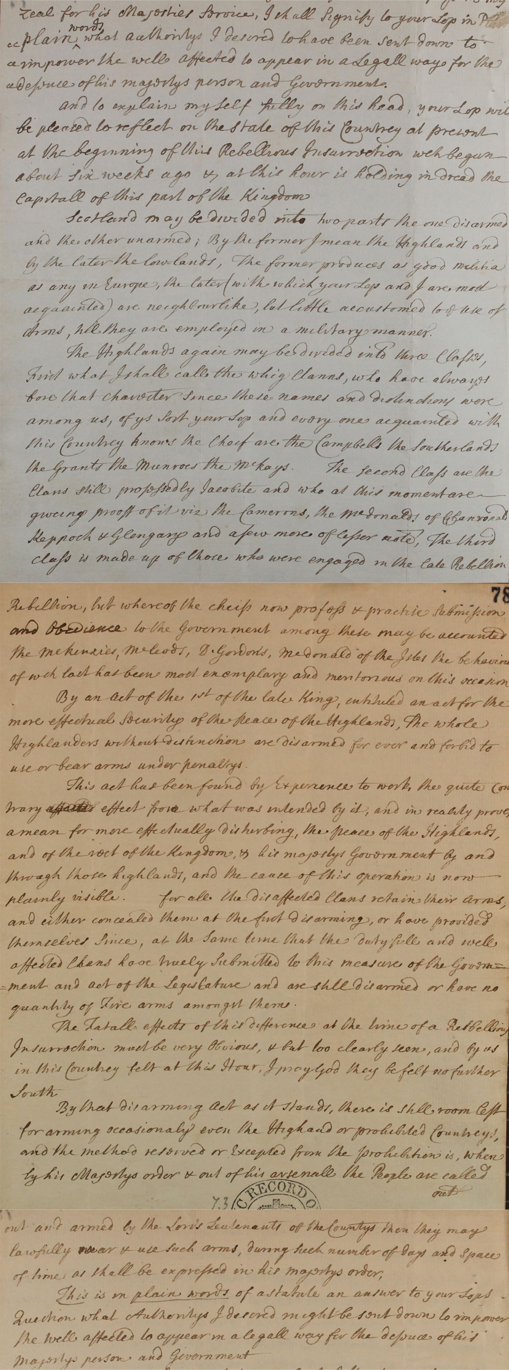Extract of a letter from Lord Justice Clerk Thomas Fletcher, 1745 (SP 54/26/25)