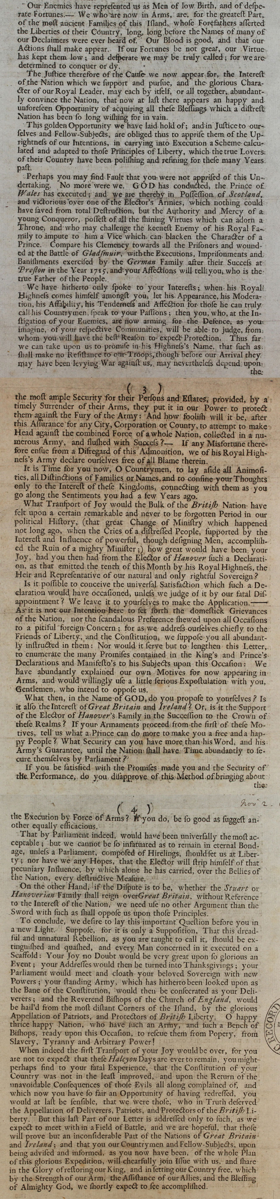 Letter from Charles Edward Stuart, 1745 (SP 54/26 /72D)