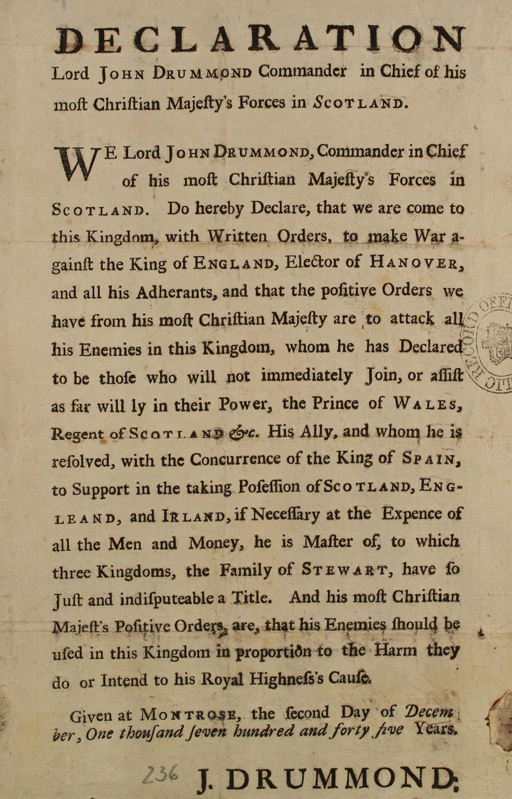 Printed handbill from Lord John Drummond, 1745 (SP 54/26/90B)