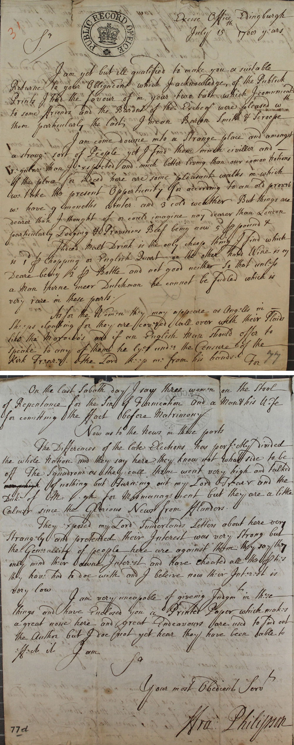 Letter from Deputy Francis Philipson to Tilson, Auditor of the Revenues and Duties of Excise and New Imposts within Scotland and the Islands territories, July 15th 1708 (SP 54/3/31)