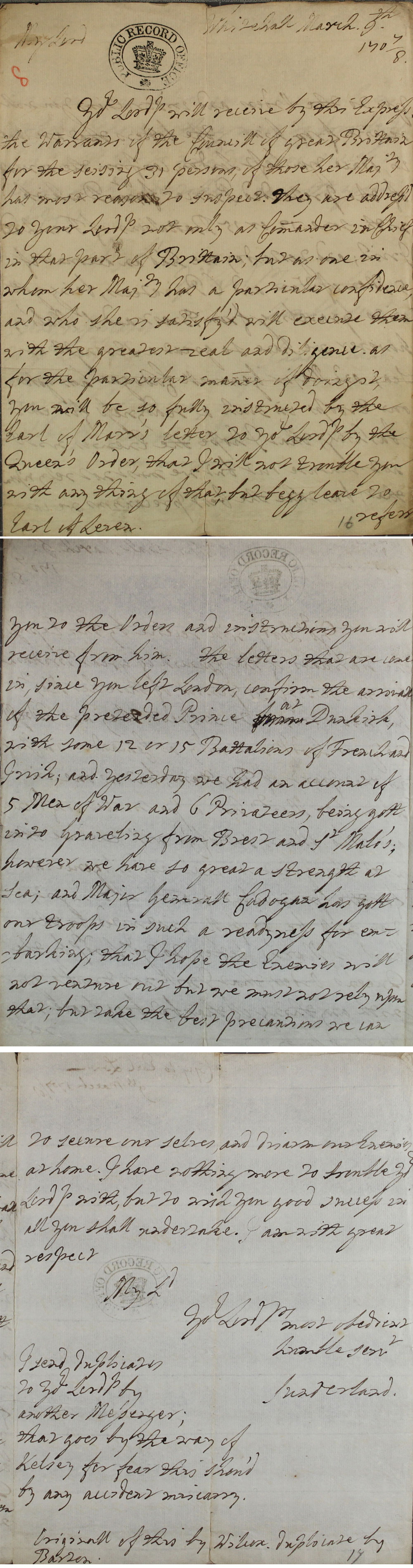 Letter from Earl of Sutherland to Earl of Leven, 9th March 1708 (SP 54/3/8)