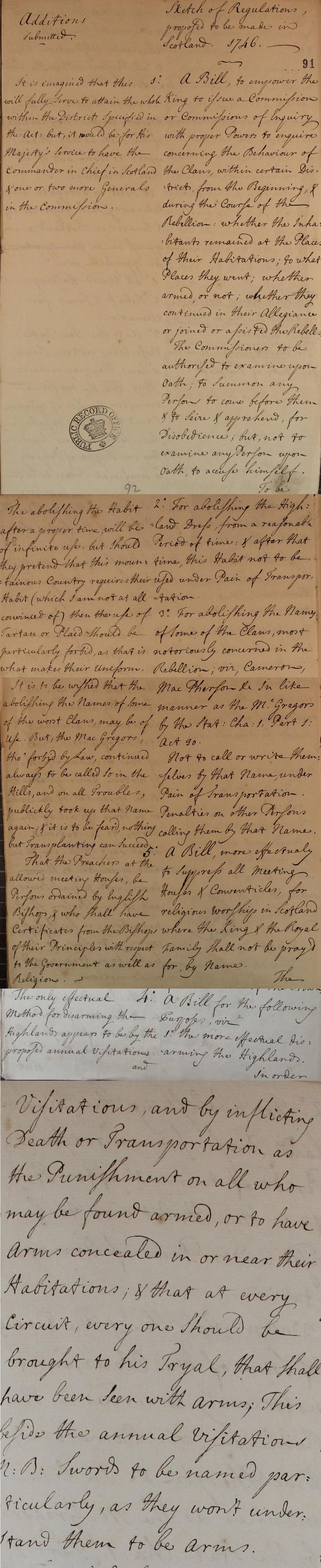 Scottish regulations, 1746 (SP 54/32/24)