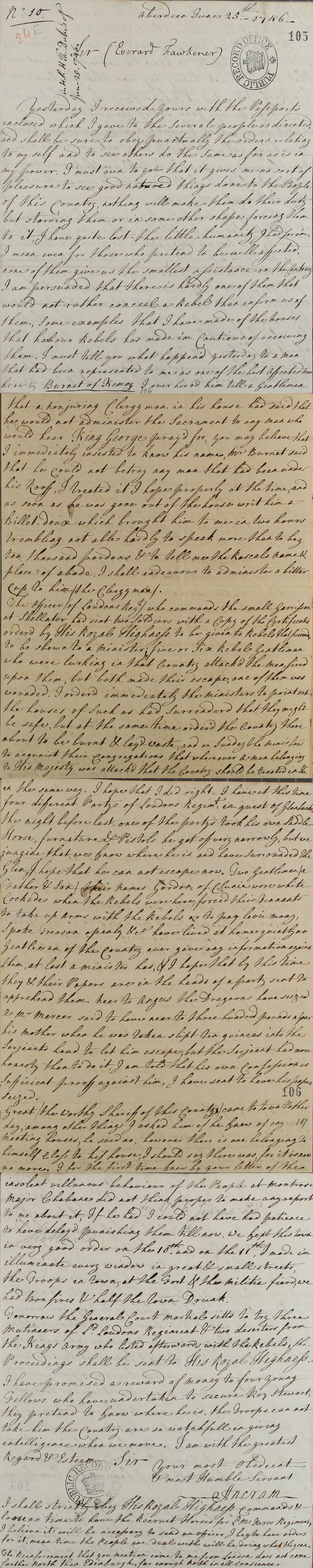 Letter from the Earl of Ancram, 1746 (SP 54/32/24E)