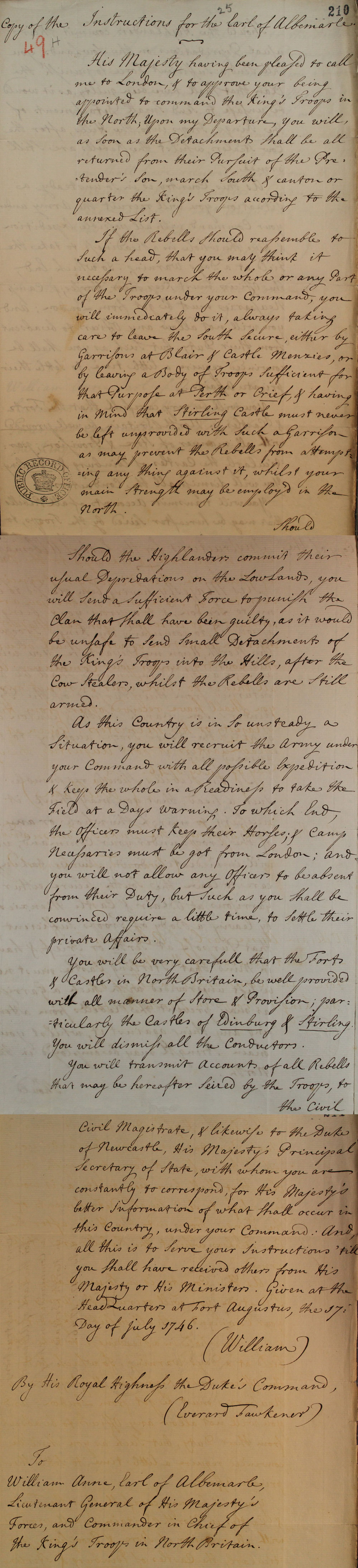 Duke of Cumberland to Secretary Newcastle, 1746 (SP 54/32/49A)