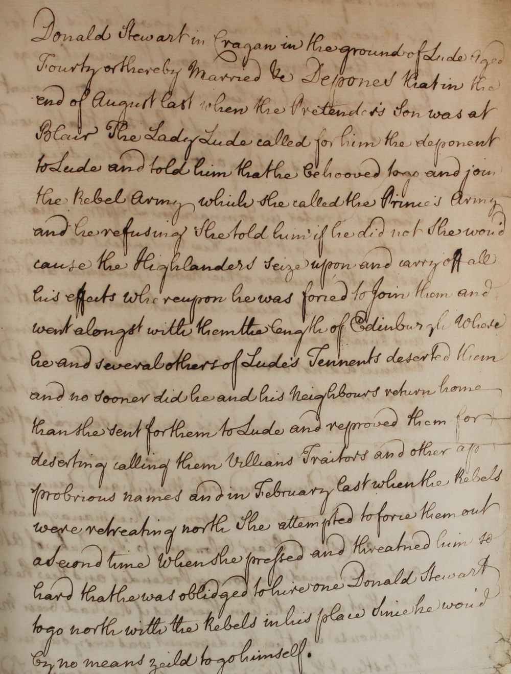 Lady Lude statement, 1746 (SP 54/33/26D)