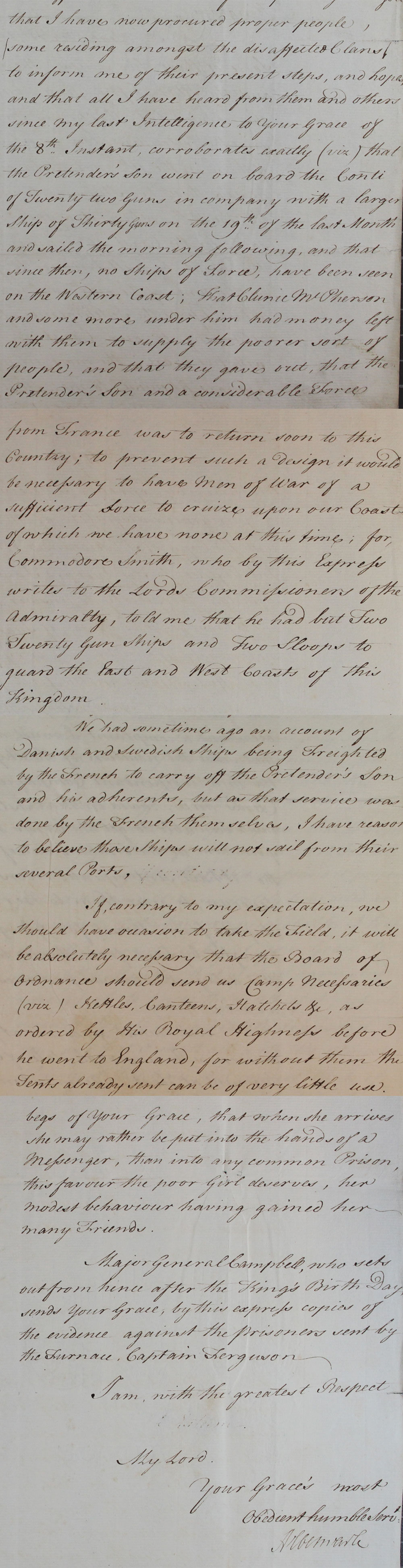 Letter from the Earl of Albemarle,1746 (SP 54/34/13A)