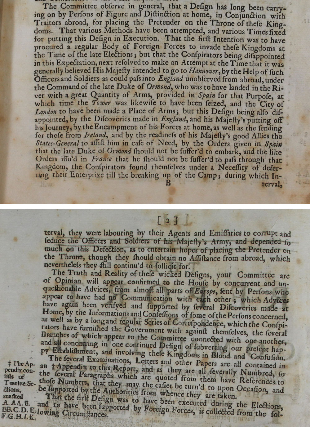 Extracts from a Government report on a Jacobite plot involving Christopher Layer, 5 March 1722 (T 64/306)