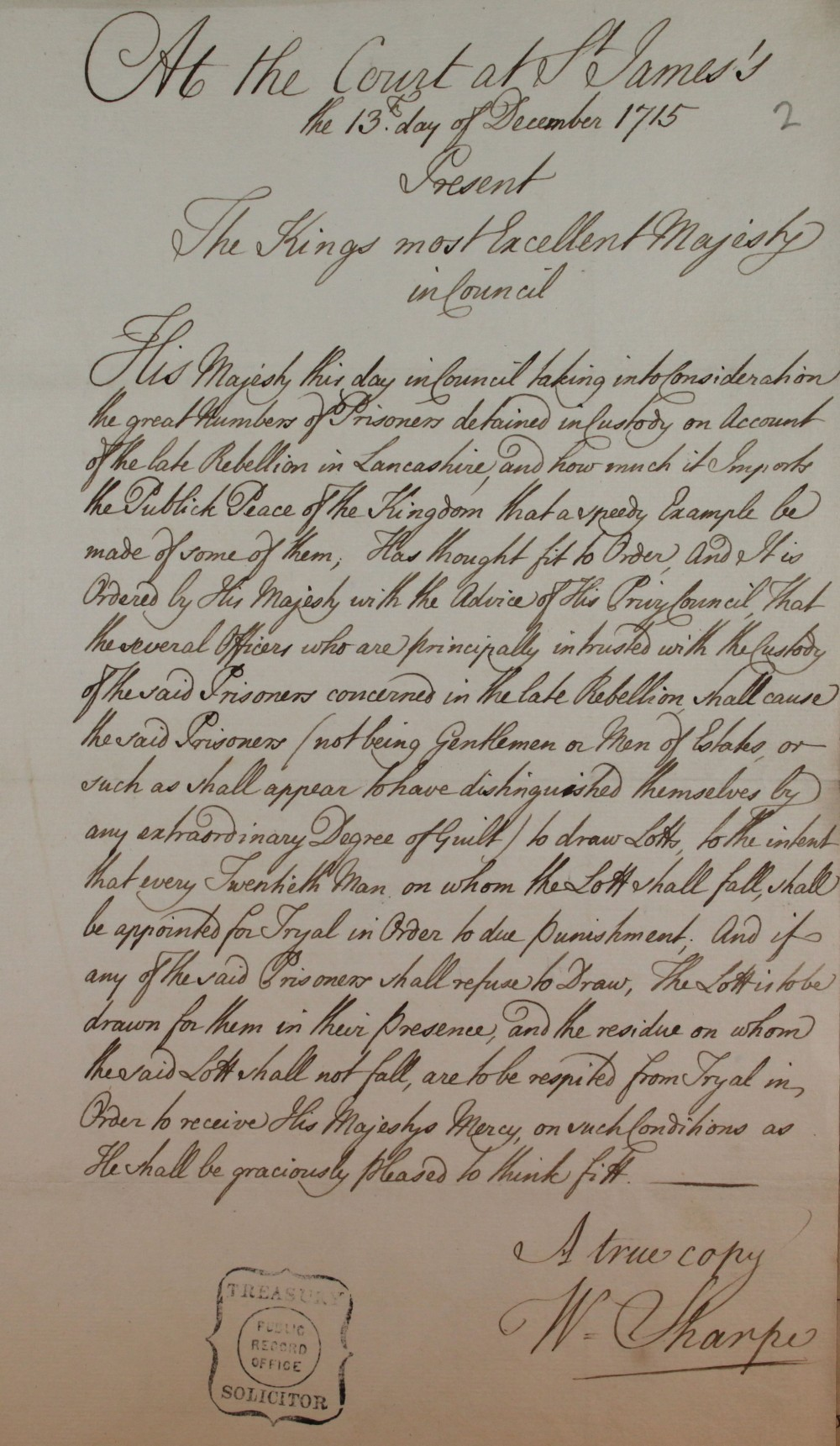 An order on behalf of King George I, cat. ref. TS 20/44