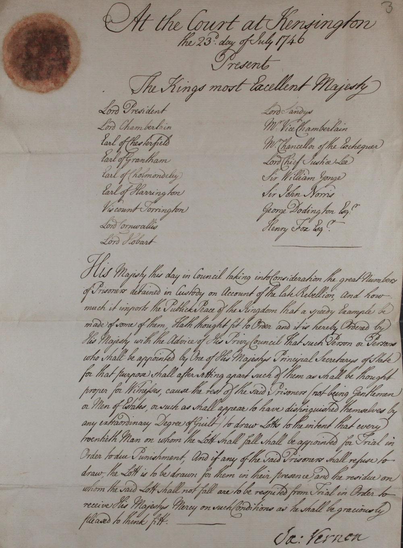 An order on behalf of King George II, 1746 (TS 20/44)